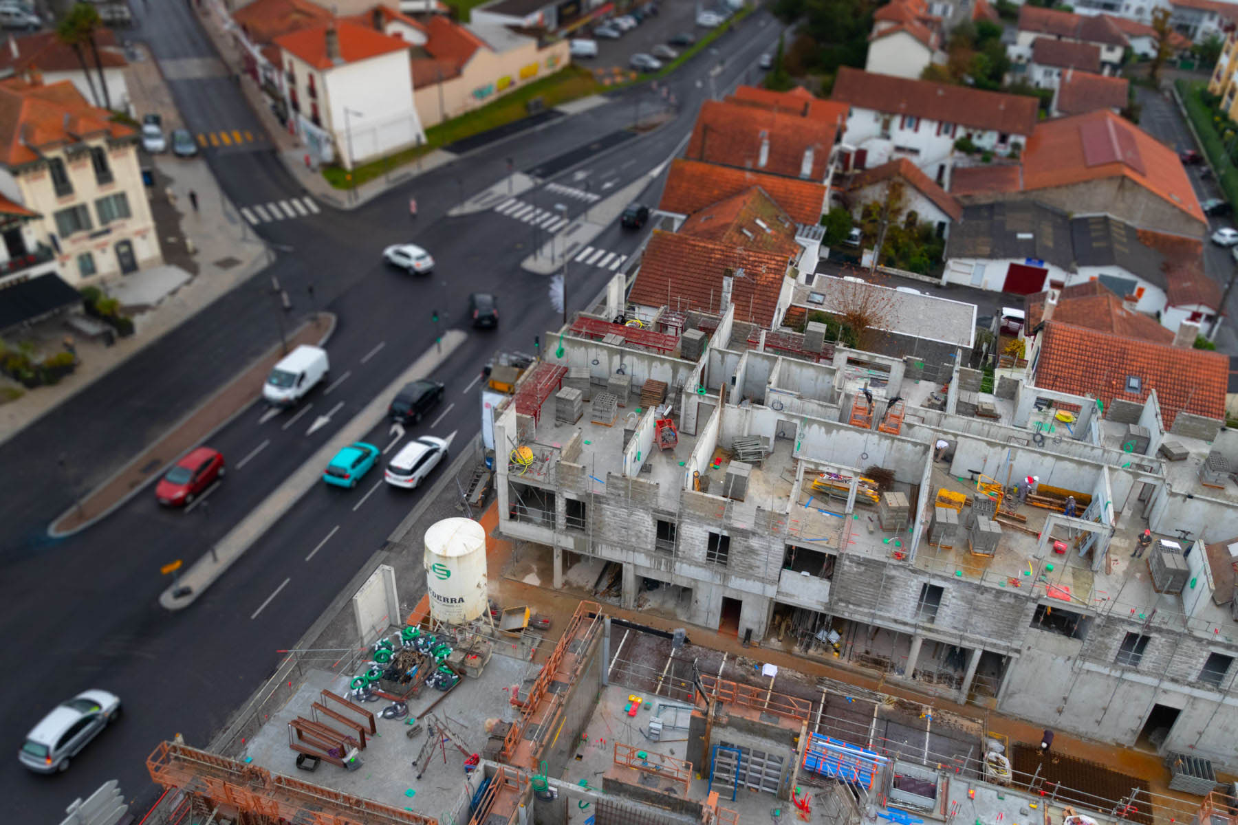photo aérienne d'un chantier de construction à anglet par Carole photographe d'entreprise
